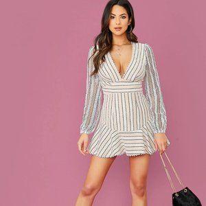 L' ATISTE Long Sleeve Modern Lace Dress